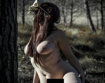 Naked in nature Fine art photography Artistic nude photo print Outdoor nude - The Spirit Protector - 04 - MATURE