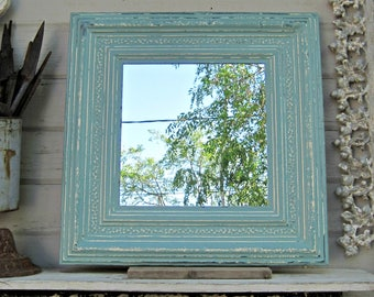 Vintage Ceiling tin Mirror.  Antique Architectural salvage.  2'x2' Wall Bathroom Mirror, Aqua turquoise blue mirror