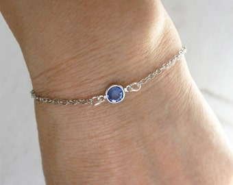 Birthstone Bracelet, Birthstone Anklet, Crystal Bracelet, Crystal Anklet
