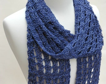 Wool & Alpaca Scarf/ Hand Knit/ Deep Blue
