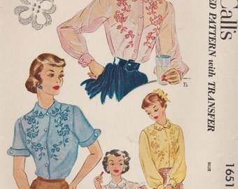 McCalls 1651 / Vintage 50s Sewing Pattern With Embroidery Transfer / Blouse Shirt Top / Size 16 Bust 34