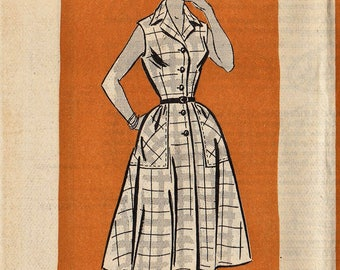 Vintage Mail Order Sewing Pattern / Anne Adams 4588 / 1950s Dress / Size 16 Bust 34