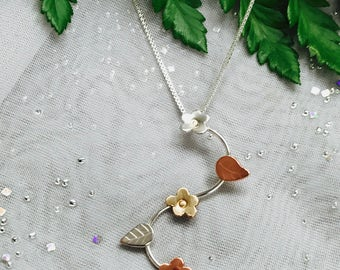 Tri Color Forget Me Not Necklace