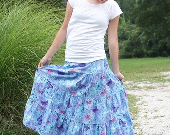 Girls Long Modest Blue and Purple Butterfly Tiered Peasant Skirt Size 12/14