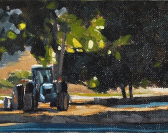 Farm Oil Painting -  4x8 - Tractor on the Farm by Sharon Schock