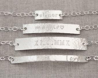 Custom Name Bracelet, ID Bracelet, Nameplate Bracelet, Sterling Silver Bar Bracelet, Personalized