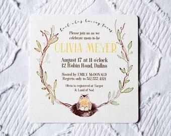 Printable Custom Owl and Twin Eggs Baby Shower Invitation