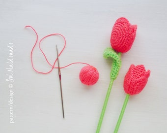 Crochet Flower Pattern Tulip PDF - flower wedding deco, bride bouquet, home embelishment - Instant DOWNLOAD