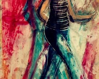 LONG-LEGGED LADY 3 original encaustic painting