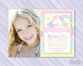 Unicorn Birthday Invite, Unicorn Invitation, Magical Birthday Invitation, Pastel Rainbow Unicorn Party, PERSONALiZED PRINTABLE PHOTO CARD