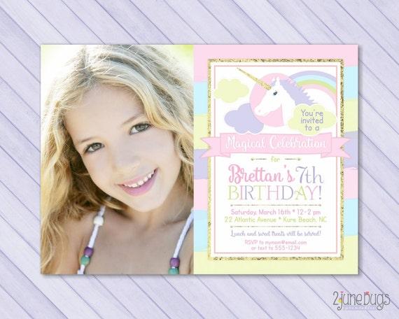 Printable Rainbow Birthday Invitations ~ Unicorn birthday invite unicorn invitation magical birthday