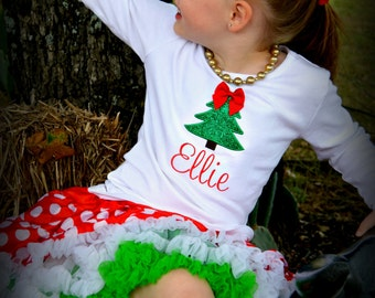 Girls Christmas Shirt - Girls Shaggy Christmas Tree Shirt - Toddler Christmas Shirt - Long Sleeve -
