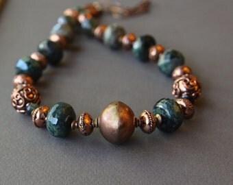 SALE Large Kambaba Jasper and Copper Necklace Faceted Green Jasper, Ocean Jasper, and Ornate African Copper Gemstone Jewelry
