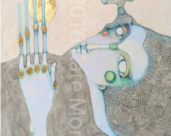 8x10 print Folklore Female Figure Mixed Media Earth Woman with Tree & Moon