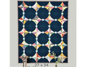 Mini Kites Quilt Pattern - Mini Quick Curve Ruler (QCRMINI) Pattern - Quilted Wall Hanging Pattern - Table Topper Pattern - SKW 507