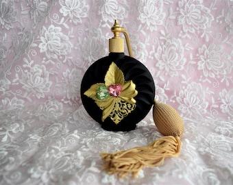 Vintage VICTORIA'S SECRET PERFUME Bottle Atomizer Gold Tassel Black Art Deco Style Hang Tag Display Cologne Pink Green Heart Jewel Bow Leaf