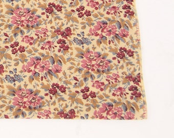 Vintage Cotton Fabric Brown Purple Pink Floral Flowers Calico