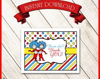 Thing 1 and Thing 2 Thank You Card / Boy and Girl / Dr. Seuss / Invitation, Cupcake Wrappers, Party Banner Available / DIY PRINTABLE / Twins