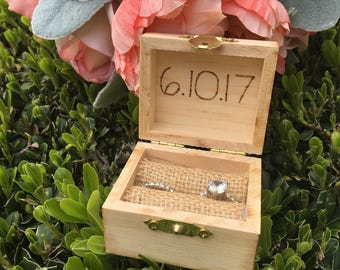 Rustic Ring Bearer Box Personalized Wood Heart Rustic Wood Ring Bearer Box Extra Small Ring Box Pocket Size Wedding Keepsake Ring Bearer Box