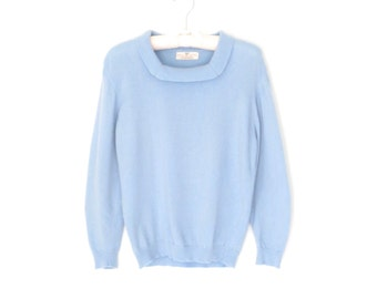 Vintage Cashmere Sweater * Square Neck 60s Pullover * Baby Blue Sweater * Medium