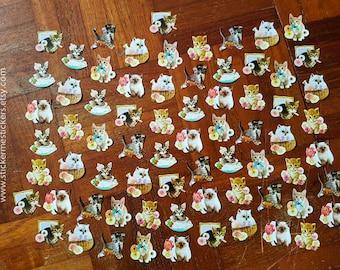 70 PCS, CAT stickers, Cat Lover stickers, Kitten stickers, Cat Lady stickers, Paper Flake stickers, Sticker Flakes