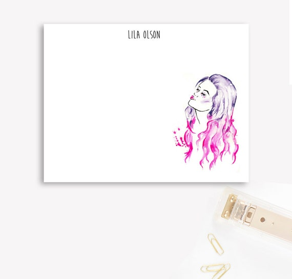 "Personalized Stationary Set ""Pink and Purple hair, don't care"", girl boss gift, office gift, fashionista gift"