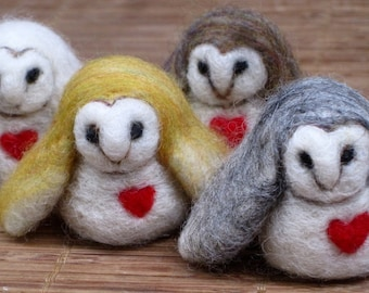 Needle Felted Animal, Barn Owl, Needle Felted Owl, owl with red heart, valentines gift, small bird, Waldorf toy, miniatures, made to order