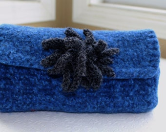 Blue Gray Felted Wool Flower Clutch, Blue Hand Knit Felted Purse, Fabric Lined Wool Clutch, Knit Felted Wool Clutch, Tweed Wool Clutch