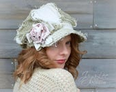 Lace Newsboy Hat Shabby Chic Green Linen and Lace Cap