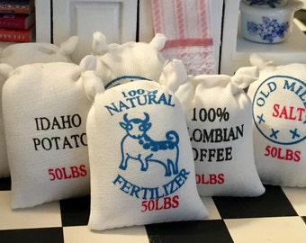 Miniature Food Sacks, Flour and Grain Bags, Set of 6, Dollhouse Miniature, 1:12 Scale, Accessories, General Store, Mini Food, 50 lb Bags
