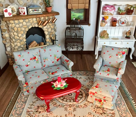 Miniature Living Room Set, Blue and Red, 4 Pieces, Love Seat, Chair, Ottoman and Mahogany Coffee Table, Dollhouse Furniture, 1:12 Scale