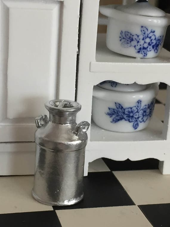Miniature Silver Milk Can, Vintage Style Milk Can, Dollhouse Miniature, 1:12 Scale, Mini Milk Can, Dollhouse Accessory, Decor