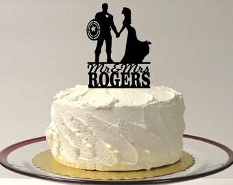 MADE In USA, Personalized Superhero Wedding Cake Topper, Bride and Groom Superhero Wedding Cake Topper, Silhouette Wedding Cake Topper