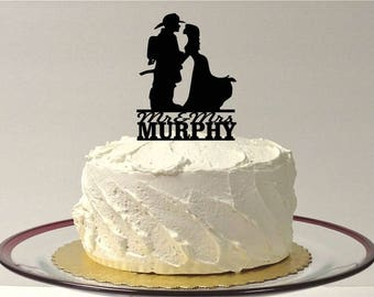 MADE In USA, Personalized Fireman and Bride Wedding Cake Topper, Fireman Wedding Cake Topper, Wedding Cake Topper, Firefighter Cake Topper