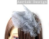 Silver Gray Ostrich feather fascinator (5 fastener, 5 color option) Ameline headband,mardi gras,kentucky derby,carnivale,vegas bachelorette