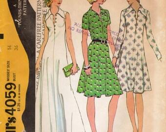 1970s Knit Dress Pattern - Vintage McCall's 4059 - Size 14 Bust 36 UNCUT FF