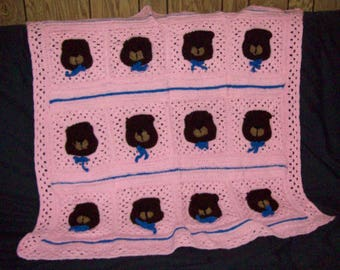 Crochet Sleepy Bear Afghan Childs Blanket Teddy Bear Blanket