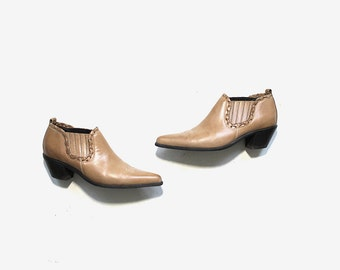Vintage Ankle Boots 7.5 / Tan Leather Winklepickers / Leather Ankle Booties / Ankle Boots Women
