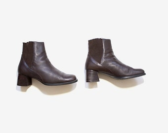 Vintage Chelsea Boots 6 / Leather Ankle Boots / Brown Leather Boots / Ankle Boots Women