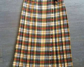 Vintage PLAID WOOL yellow Pleated Wrap Skirt with Velvet Bow Trim (s)