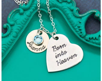 SALE • Baby Loss Gift Stillborn Necklace • Born into Heaven • Baby Memorial Gift Condolence Remembrance Necklace Infant Loss • Sympathy Gift