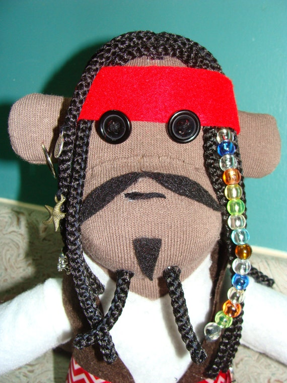 Captain Jack Sparrow Inspired Pirate Sock Monkey
