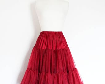 Bordeaux Red Swing Petticoat - Soft - Two Layer - Fifties Petticoat - Tulle - Wedding - Retro - Swishy