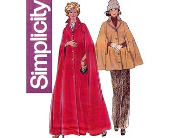 70s Womens Cape Pattern Simplicity 6680 Vintage Sewing Pattern Size Medium 12 - 14 Bust 34 - 36 inches