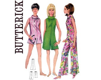Butterick 4474 Womens 60s MOD Wide Leg Jumpsuit or Rompers with Roll Collar Vintage sewing Pattern Size 12 Bust 32 inches
