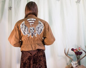 True Detective Inspired Hand Painted Leather Jacket
