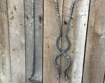 Hand Forged Fire Poker and Tong set with twists.