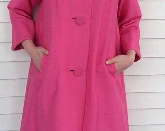 60s Pink Coat Marguerite Rubel Evening Jacket Vintage 1960s S