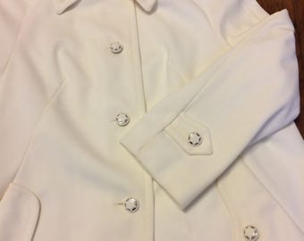 60s Jacket Star Buttons Mod Off White Spring A Line M
