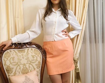 Vintage 60s Bright Peach Pink High Waisted Simple Mini Skirt